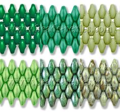 Cristal Checo - Superduo - 2,5x5mm - Mix Hope Green 10 (60 gr.) - Beads Perles Boutique. Top row: Emerald Intense, Pastel Jade, Silk Sage. Bottom row: Pastel Mint Green, Marbled Green, Opaque Ultra Luster Green.