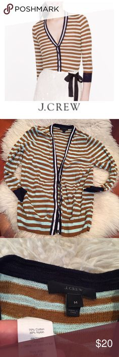 J. Crew Brown & Baby Blur Striped Gauze Cardigan J. Crew Brown & Baby Blue Striped Gauze Cardigan. 23 inches long. 17 inch bust. Navy and white accent stripe. Gently worn. Great condition. Feel free to make an offer or bundle & save! J. Crew Sweaters Cardigans