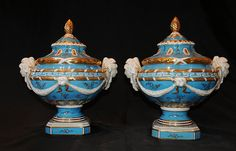 Pair Dresden Porcelain Maiden Urns www.canonburyantiques.com