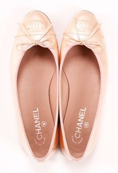 blush Chanel ballet flats