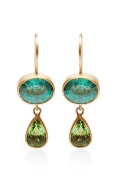 One of a Kind Emerald and Tsavorite Bon Bon Earrings by Mallary Marks for Preorder on Moda Operandi