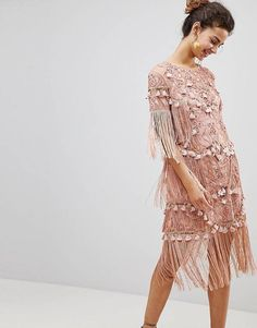 200bd469679f ASOS EDITION Loose T-Shirt Dress with Embroidery and Tassels Mini Dress  Petite Dresses,