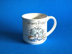 Vintage Sandra Boynton When's Friday Mug - Retro Collectible Paws Cat Mug - Recycled Paper Products by FunkyKoala on Etsy