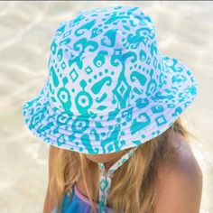 82bf200b057 Tidal Wave Swim Hat for Girls - Swim Hat - Blue Printed Hat for Girl  -REVERSIBLE. Baby Sun ...