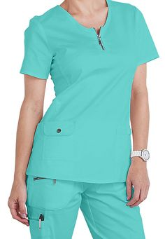 Beyond Scrubs Mia zip front scrub top in the beautiful new Pool color