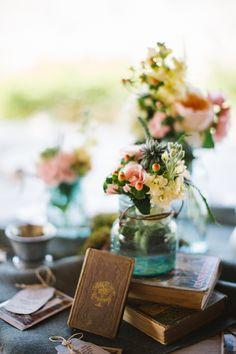 BOOKS centerpiece - Fredericksburg Barn Wedding from Rachel Whyte