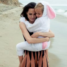 Mother's love: Angelina Jolie with her bunny honey girl for Vogue Magazine editorial.