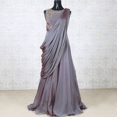Buy this elegant Gray Crinkle Georgette Attached Drape Dupatta Gown from our online collection of trendy Indian ethnic fashion wears. Gown Dress Party Wear, Party Wear Indian Dresses, Designer Party Wear Dresses, Indian Gowns Dresses, Indian Bridal Outfits, Indian Bridal Fashion, Indian Fashion Dresses, Wedding Outfits, Designer Wear
