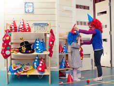 Vintage Carnival: the clown dress-up station with its handmade clown hats, masks, colourful wigs and red noses