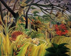 Henri Rousseau tiger in a tropical storm oil painting for sale; Select your favorite Henri Rousseau tiger in a tropical storm painting on canvas or frame at discount price. Art Tigre, Henri Rousseau Paintings, Jungle Scene, Tiger Art, Tiger Tiger, Post Impressionism, Inspiration Art, Naive Art, Art Plastique