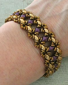 Linda's Crafty Inspirations: Bracelet of the Day: Bluebell - Pale Gold & Purple