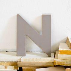 Gray Mid Century Wood Letter N