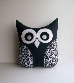 owl pillow decorative black and white damask, plush bird, decorative pillow, unisex, nursery, child's room decor. $28.50, via Etsy.