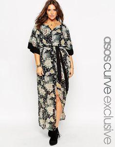 Plus Size Kimono Sleeve Belted Maxi Dress