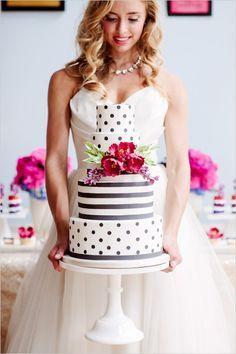 Stripes and polka dots wedding cake
