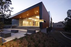 Main entry to Chapel. Blackbutt Timber facade. Williams Ross Architects