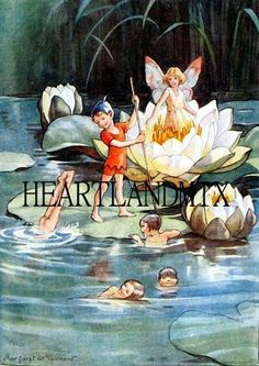 Pixies Swimming Amongst the Water Liles by VintageDigitalShop2