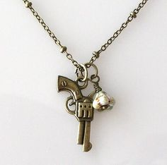 gun necklace, western jewelry, weapon necklace, cowgirl necklace, gun pistol jewelry necklace