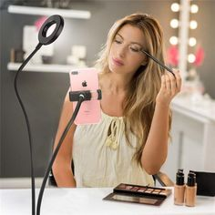 Selfie Ring Light with Cell Phone Holder Stand for Live Stream Makeup, Mode, Brightness LED Desk Lamp, Lazy Bracket Long Arms Mobile Phone Clip Holder for iPhone/Android. Dyi, Diy Décoration, Portable Led Lights, None, Style Cool, Led Ring Light, 3d Light, Best Decor, Create Photo