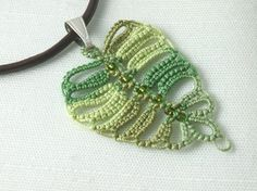 tatted leaf necklace
