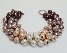 Pearl Cluster Bracelet ,Brown Ombré Chunky Pearl Bracelet, Bridal Jewelry, Wedding Bracelet, Bridesmaid Brown Bracelet, Brown Pearl Jewelry on Etsy, $14.50