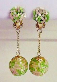 1194~Retro Vintage Signed Japan Goldtone Green White Bead Dangle Clip Earrings** #Japan #DropDangle