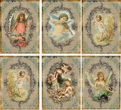 Vintage Inspired Angel Wings Fairy Cherubs Tags ATC Altered Art Card Set of 6 | eBay