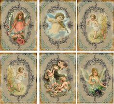 Vintage Inspired Angel Wings Fairy Cherubs Tags ATC Altered Art Card Set of 6 | eBay