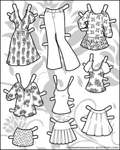 Nine mix and match piece of colorable paper doll clothing for the Ms. Mannequin series. Free to print from paperthinpersonas.com.