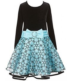 Bonnie Jean Little Girls 2T6X Velvet Printed Organza Bow Swing Dress #Dillards
