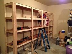 to Build Sturdy Garage Shelves, step by step instruction. Sturdy enough to double as a jungle gym for your kids :)How to Build Sturdy Garage Shelves, step by step instruction. Sturdy enough to double as a jungle gym for your kids :) Garage Atelier, Building Shelves, Diy Rangement, Diy Regal, Garage Shelf, Garage Workbench, Garage Cabinets, Wooden Garage Shelves, Garage Signs