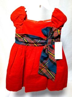 0476790cf5c4 Ralph Loren Baby Girl Christmas Dress Size 3M with Bow Tied Waist - New   fashion