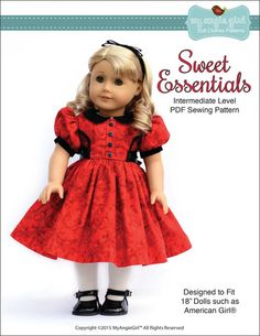 My Angie Girl Sweet Essentials Dress Doll Clothes Pattern 18 inch American Girl Dolls | Pixie Faire