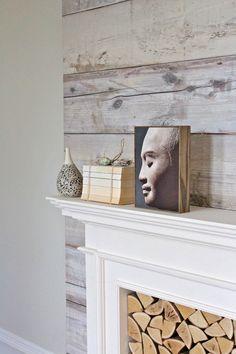 Piet Hein Eek Scrapwood Wallpaper as a chimney-breast accent feature