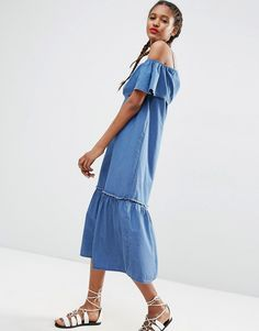 Image 1 of ASOS Denim Maxi Dress with Off Shoulder and Ruffle Hem