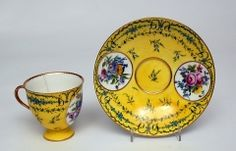 Cup and Saucer, c.1780  Soft paste porcelain, coloured enamels  French, Sevres