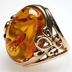 Vintage Cocktail Ring Natural Amber Solid 14K Gold