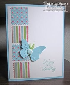 simple card design, great way to use up small pieces of patterned paper