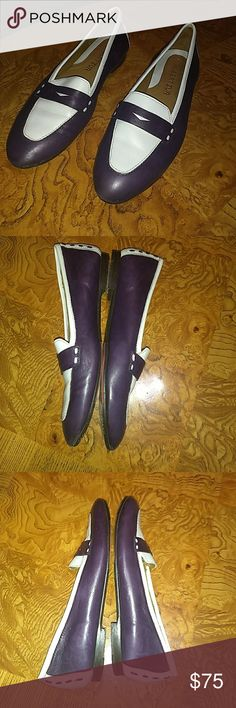"""ROBERT ZUR """"Petra"""" Glove Leather Loafers Sz 8AA Super cute pair of Robert Zur """"Petra"""" eggplant purple and white glove leather driving Flats penny loafers ladies shoes. Size 8AA. They are pre-owned with general light signs of use. Still has a lifetime left. Robert Zur Shoes Flats & Loafers"""