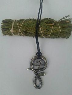 Inverted Pentagram Snake Necklace  Occult  by LaveyanSatanism