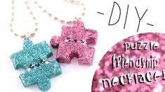 Diy Friendship Necklaces - Start simple with a dainty heart bracelet. Tips and ideas skip the glitter for a more simple project. Fimo Kawaii, Polymer Clay Kawaii, Kawaii Crafts, Kawaii Diy, Polymer Clay Charms, Cute Crafts, Diy Crafts, Polymer Clay Projects, Diy Clay