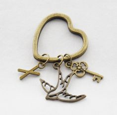 Brass Bird Key Ring Heart Jewelry BFF Heart Keychain Personalized Keychain Monogram Keyring Personalized Brass Skeleton Key ring Sparrow by SmittenKittenKendall on Etsy