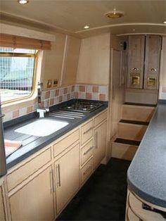 My Ideal Narrowboat Interior Design: Design - The Galley Narrowboat Kitchen, Narrowboat Interiors, Canal Boat Interior, Sailboat Interior, Barge Interior, Interior Design, Interior Ideas, Boat Design, Design Design
