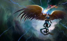 Fantasy Angel Warrior Kayle (League Of Legends) Wallpaper League Of Angels, Anime Angel, League Of Legends Elo, Angel Artwork, Angel Warrior, Woman Warrior, Digital Art Gallery, Supernatural Beings, Angel Pictures