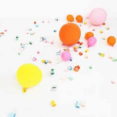 Balloons and confett