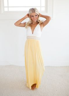 Venus's Low Cut Knit Maxi Dress in Yellow - Modern Vintage Boutique