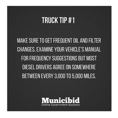 Make sure you are staying up to date on your trucks oil changes to ensure the best performance! #OnlineAuction #Auction #Auctions #TruckTip #OilChange #FilterChange #Maintenance