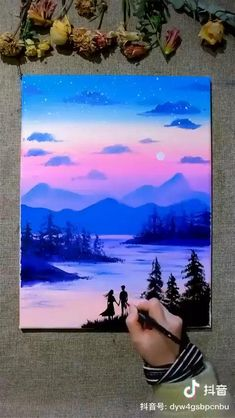 Easy Canvas Art, Simple Canvas Paintings, Small Canvas Art, Easy Acrylic Paintings, Easy Nature Paintings, Acrylic Painting Lessons, Easy Canvas Painting, Amazing Paintings, Indian Paintings