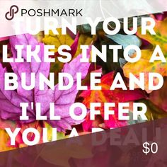 Bundle and get a private offer😉 Bundle Up! When you press the bundle button I will offer an exclusive deal. Bundle your likes even if it's just one like and you'll receive a private offer. You'll never know unless you try😉   🌻NO TRADES 🌻OFFERS WELCOMED! 🌻BUNDLE TO SAVE  🌻FEEL FREE TO ASK ANY QUESTIONS Other