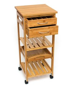 Love this Bamboo Two-Drawer Kitchen Cart on #zulily! #zulilyfinds